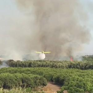 מטוסי כיבוי בפעולות כיבוי שריפות בעמק חפר. צילום דוברות המשטרה