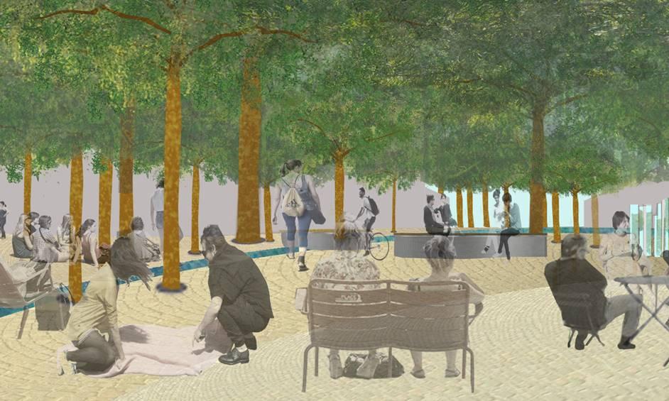 עיר ימים: תוקם כיכר מרכזית בה חורשת עצי תות
